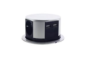Pop Up Desk & Kitchen & Table Socket 16A EU Power Outlet with 3 Plug + 2 USB
