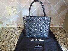 CHANEL Classic Silver Medallion Quilted Black Caviar Leather CC Logo Tote Bag