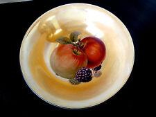 "Antique Handpainted Fruit Bowl  Orange Luster Serving ""W"" Czecho-Slovakia APPLES"