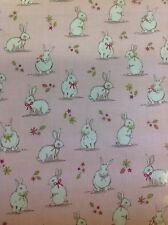 Woodland Bunnies Pvc Coated 100% Cotton Fabric In Pink By The Half Metre