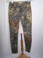 Seven 7 for all Mankind Floral Skinny Jeans Size 25 Brown & Tan Stretch 28 x 30