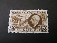 *ALBANIA, SCOTT # C46, 1939 AIR POST PLANE OVER MOUNTAINS+VICTOR EMMANUL USED