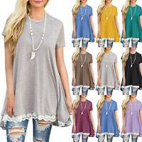 Women's Short Sleeve Lace Hem Loose T-Shirt Summer Casual Tunic Long Tops Blouse