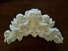 Architectural ornate plaster cherub angel wall decor hanging plaque shabby chic
