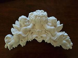 Architectural Ornate Plaster Cherub Angel Wall Decor Hanging Plaque Shabby Chic