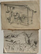 Women in Fields, Women in Market Ink Drawings (2)-Circa 1930s/40s-Louis Bosa