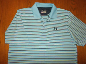 UNDER ARMOUR HEAT GEAR SHORT SLEEVE BLUE STRIPED POLO SHIRT MENS LARGE EXCELLENT