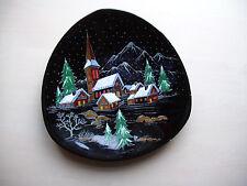décoration murale assiette porcelaine paysage de neige No.3522 fait main France