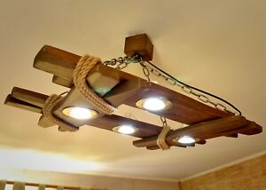 Wooden chandelier is made of natural wood, ceiling light, rustic fixtures, LED