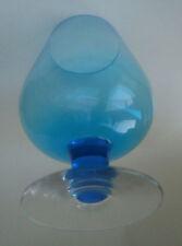 Vintage Retro Art Glass Sky Blue Brandy Ballon Glass Vase 1960s