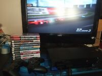 Sony Playstation 2 PS2 Fat Gaming Console, 2 Controllers 12 games Tested Works