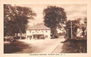TRIANGLE GARAGE SHRUB OAK NEW YORK CAR GAS STATION POSTCARD (c. 1920s)