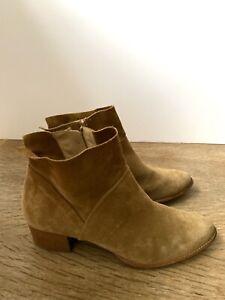 PAUL GREEN Suede Tan Mid Heel Ankle Boots UK7 EUR40 £160