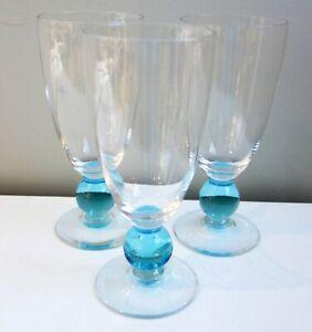 "(3) Bryce Contour Cerulean Blue Iced Tea Goblets Glasses 7 1/8"" Tall Ball Stem"