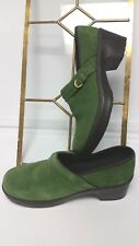 Lands' End Womens US 9 B Green Suede Slip-on Buckle Heels Work Shoes Clogs