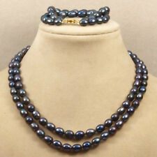 Fashion 2 row 8-9mm genuine Black fresh water oval pearl necklaceBracelet Set