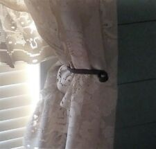 window curtain drapery hold back tie back hooks black handcrafted
