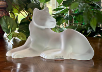 "Lalique Simba Lioness Sculpture Signed, Authentic, Mint! 9.5"" Long Female Lion"
