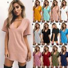 Sexy Women Choker V Neck Long Top T-shirt Ladies Casual Party Mini Dress Blouse
