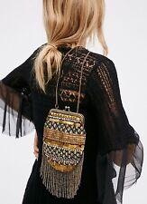NEW Free People Luella Crossbody Black Velvet & Metallic Gold Fringe Flapper Bag