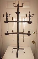 "African Dogon Art Cast Iron 3 Figure, 3 Tiered Oil Lamp with 5 Bowls - 42"" Tall"