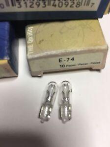 1 BOX OF 10 --  EIKO  # 74  AUTO INSTRUMENT PANEL LIGHT BULBS  --- 1 BOX OF 10