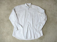 Ermenegildo Zegna Button Up Shirt Adult Extra Large 43 17 White Blue Casual Mens