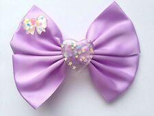 Pastel Purple Clear Heart Resin Hair Bow Kawaii Fairy Kei Cute