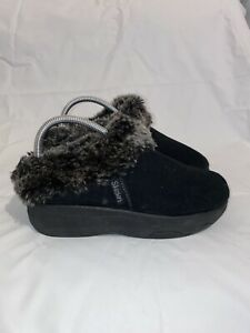 SKETCHERS Tone Ups Spindrift Black Suede/Faux Fur Clogs Womens Size 8