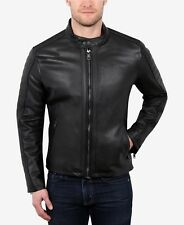 NEW $1495 WILLIAM RAST Mens Slim Fit Black LEATHER MOTO JACKET BIKER COAT Size M