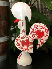 Portuguese Traditional Earthenware Rooster of Barcelos, White & Red