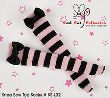 ☆╮Cool Cat╭☆【KS-L32】Blythe/Pullip Knee Lace Top Doll Socks #Stripe Black+Pink