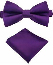 Fliege + Einstecktuch Schleife Querbinder Binder de Luxe 611 lila Krawatten