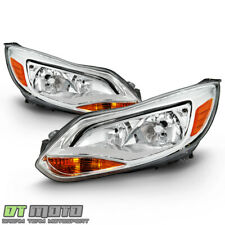 2012-2014 Ford Focus Chrome Headlights Headlamp Replacement Drive&Passenger Side (Fits: Ford Focus)