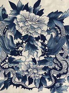 Vintage Ralph Lauren 100% Cotton Nanking Blue Dragon QUEEN Flat Sheet Blue White