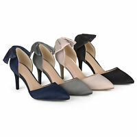 Brinley Co Womens Satin D'orsay Pointed Toe Bow Pumps New