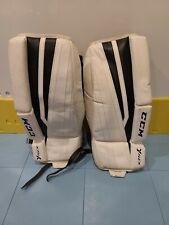 "Used Ccm Yt Flex Ice Hockey Goalie leg pads Youth 20"" white black pad"