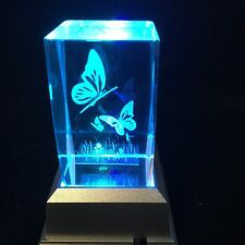Butterflies Flying - 3d Laser Etched Crystal Block With Light Base