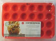 Grazia Silicone Mini Muffin Pan & Cupcake Maker Red 24-Cup Commercial Grade