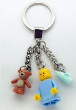 LEGO Keychain Baby Minifigure with Bottle and Teddy Bear Gift Child NEW Bagcharm