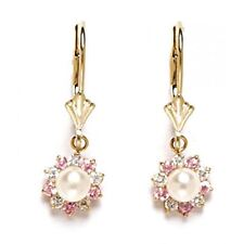 Damen/Kinder Stilvoll 14K Massiv Yg Original Weiße Perle Lange Ohrringe
