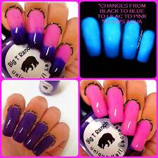 Color Changing Thermal Nail Polish - Ombre Pink/Lilac/Blue/Black - Glows Aqua