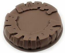 "SILICONE HAPPY BIRTHDAY CAKE MOULD 9"" WIDE Round Pan/Tin Mold Non Stick Baking"