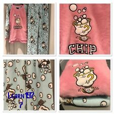 BNWOT DISNEY Beauty and The Beast CHIP CUP Fleece Pyjamas Pj's SIZE XS UK 4*NEW*