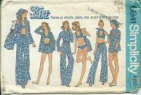 S 6941 sewing pattern 70's trendy BIKINI BRA TOP PANTS sew SHORTS SCARF TOTE BAG