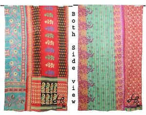 Cotton Vintage Quilt Twin Bedcover Recycled Bedsheet Saree Coverlet Old Coverlet