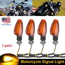 4x Led Motorcycle Turn Signals Indicator Blinker Lights Amber For Suzuki Yamaha