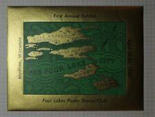 Four Lakes City Poster Stamp Club Exhibit 1941 Philatelic Souvenir Ad Label