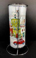 Pier 1 Stackable Coffee Mugs Set of 4 Metal Rack Christmas Village VW Beetle
