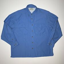 Orvis Mens Size XL Vented Button Down Long Sleeve Shirt Vented Fishing Blue
